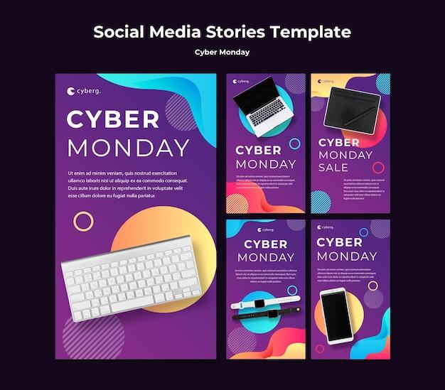 Cyber monday instagram stories template Premium Psd