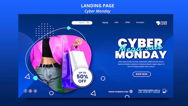 Cyber monday landing page template Free Psd