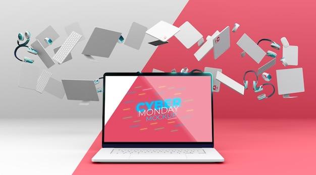 Mock-up di vendita di laptop cyber lunedì con disposizione dei dispositivi Psd Gratuite