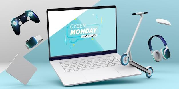 Mock-up di vendita di laptop cyber lunedì con disposizione di diversi dispositivi Psd Gratuite
