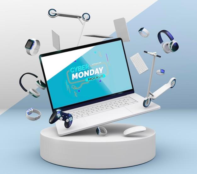 Киберпонедельник продажа макета ноутбука с ассортиментом различных устройств Бесплатные Psd