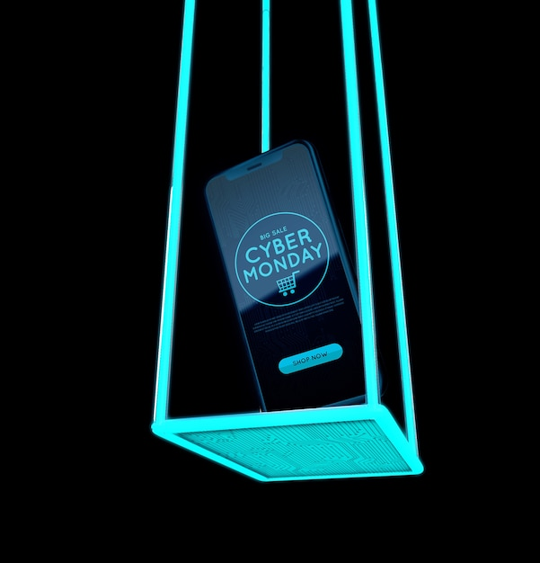 Cyber monday phone abstract design Free Psd