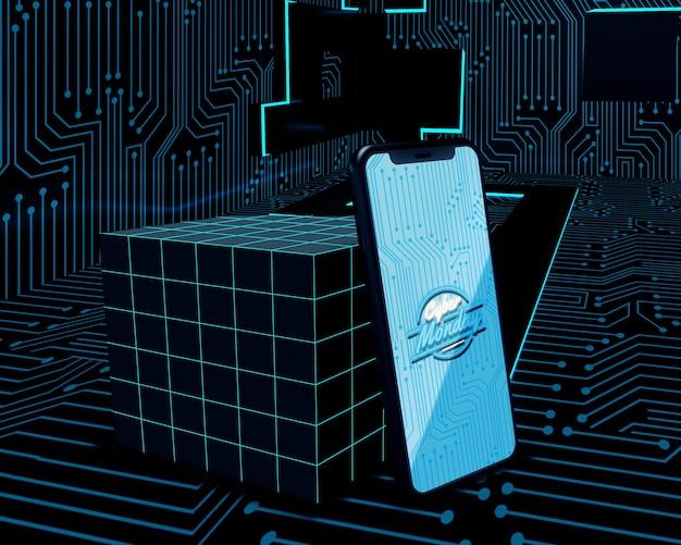 Cyber monday phone on futuristic background Free Psd
