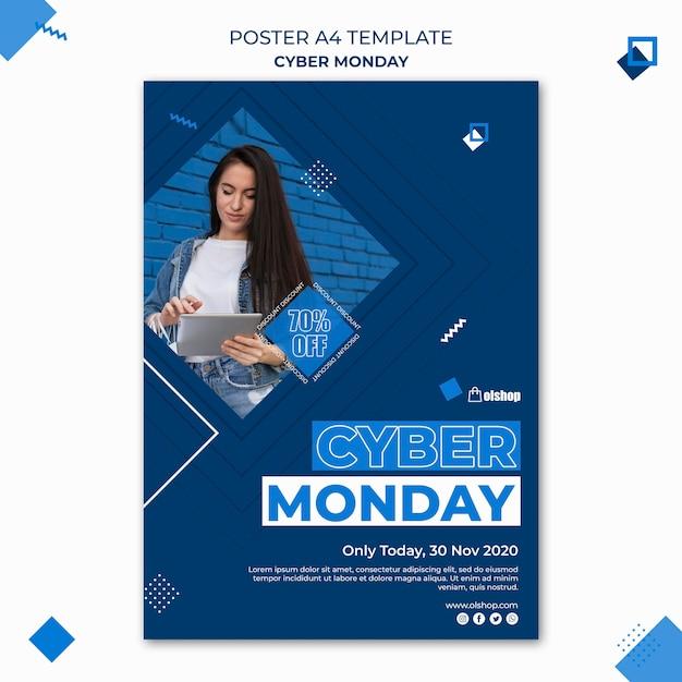 Шаблон плаката киберпонедельника Бесплатные Psd