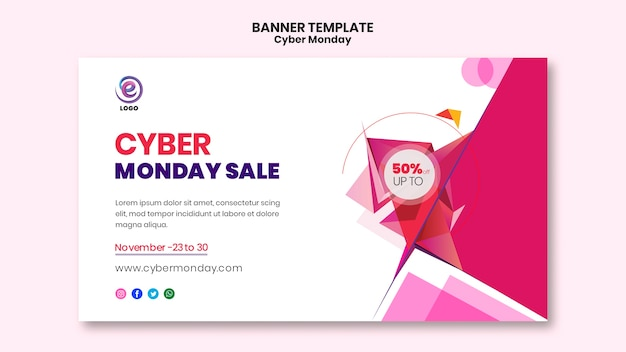 Cyber monday realistic banner template Free Psd