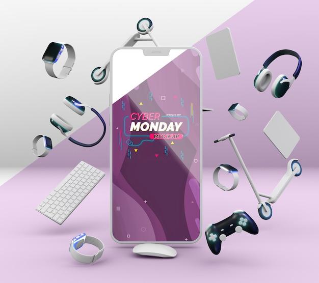 휴대폰 모형을 사용한 사이버 월요일 판매 계약 무료 PSD 파일