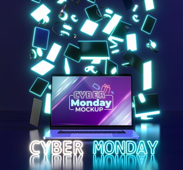 Assortimento di vendita di cyber lunedì con nuovo modello di laptop Psd Gratuite