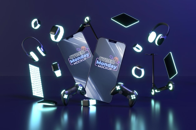 Assortimento di vendita di cyber lunedì con mock-up di smartphone Psd Gratuite