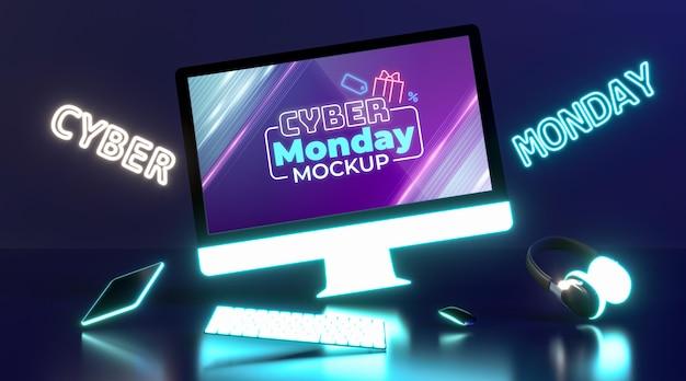 Mock-up di vendita di cyber lunedì con composizione futuristica Psd Gratuite