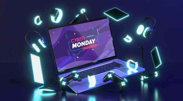 Cyber monday sale mock-up with new laptop Free Psd
