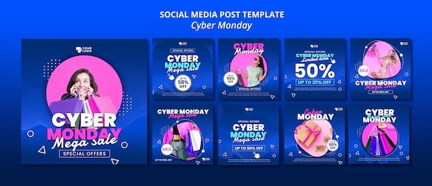 Cyber monday social media posts Premium Psd