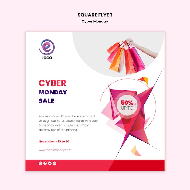Cyber monday square flyer template Free Psd