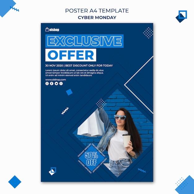 Poster modello cyber lunedì Psd Gratuite
