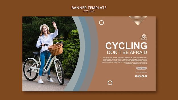 Cycling banner template concept Free Psd