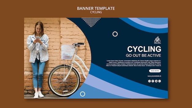 Cycling go out be active banner template Free Psd