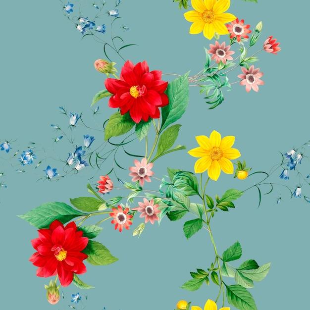 Dahlia flower pattern Free Psd