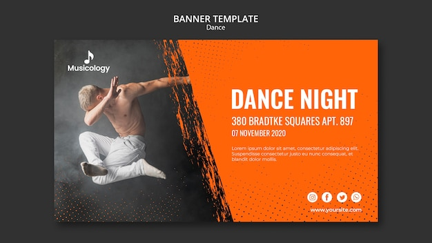 Dance party musicology banner template Free Psd