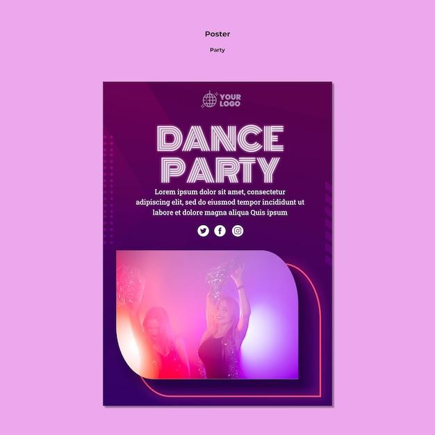 댄스 파티 포스터 템플릿 무료 PSD 파일