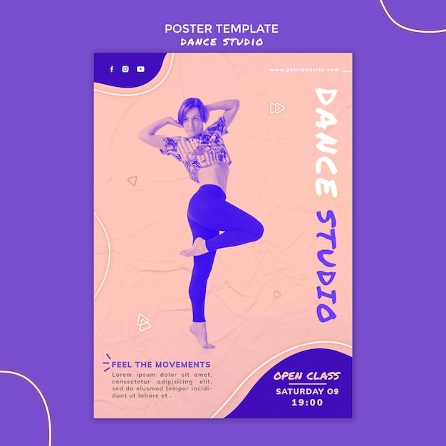 사진과 함께 댄스 스튜디오 포스터 템플릿 무료 PSD 파일