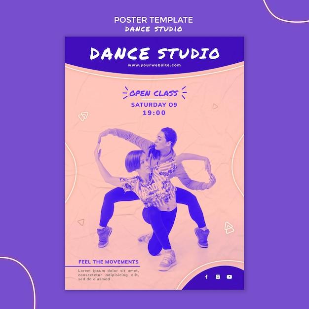 사진과 함께 댄스 스튜디오 포스터 무료 PSD 파일