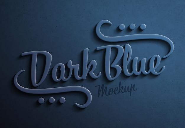 Темно-синий 3d текстовый эффект с тенью мокап Premium Psd