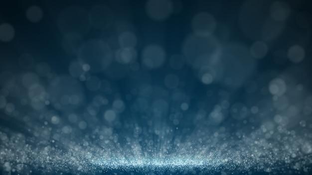 ダークブルーとグローダスト粒子の抽象的な背景、光線の輝きビーム効果。 Premium Psd