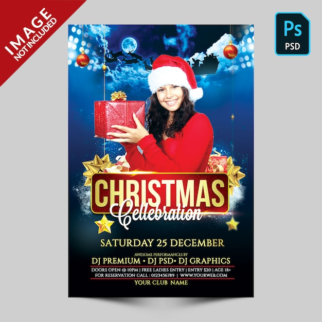 Dark blue cristmas celebration flyer Premium Psd