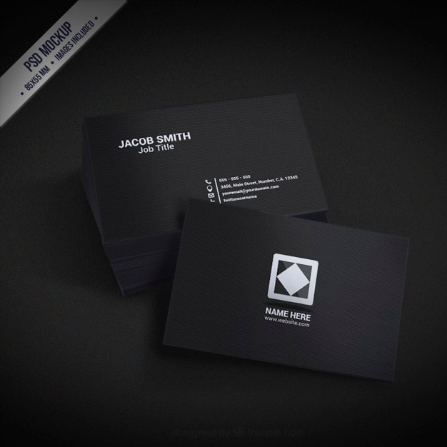 Dark busines card mockup Free Psd