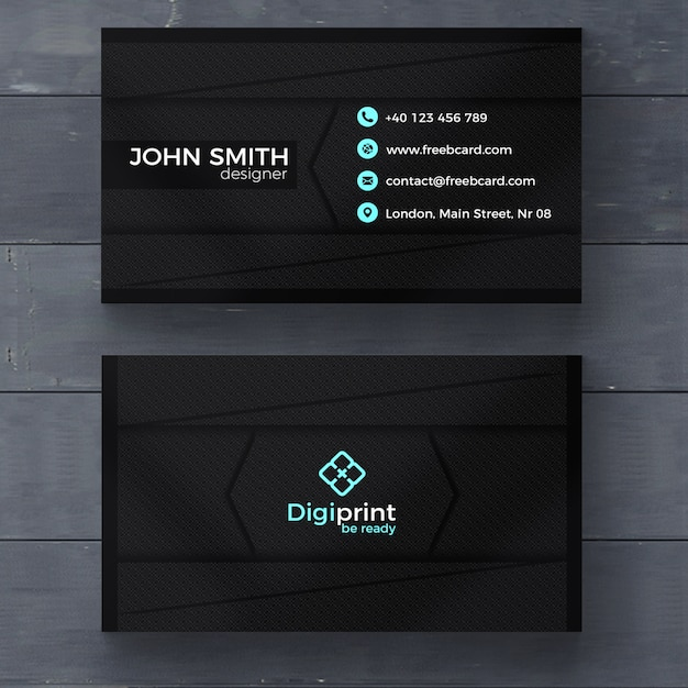 Dark business card template psd file free download for Business card presentation template psd