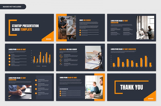 Dark business and startup presentation and project overview slider template design Premium Psd