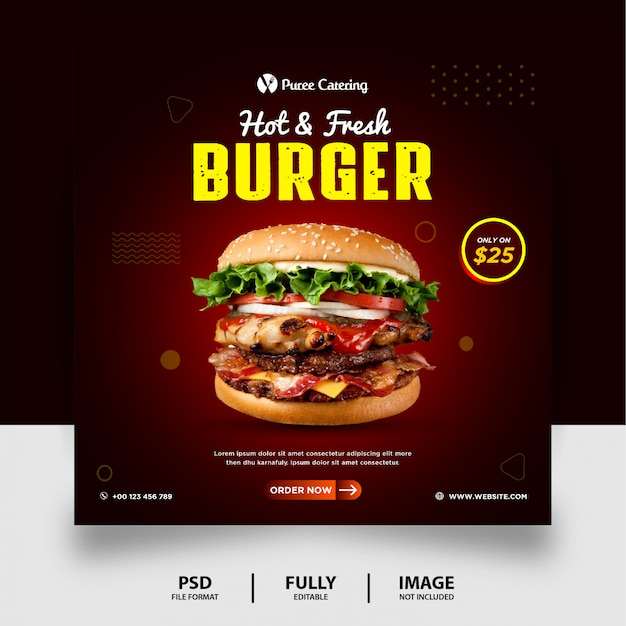 Dark chocolate color fresh burger menu food promotion social media post banner Premium Psd