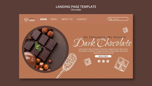 Шаблон целевой страницы темного шоколада Бесплатные Psd