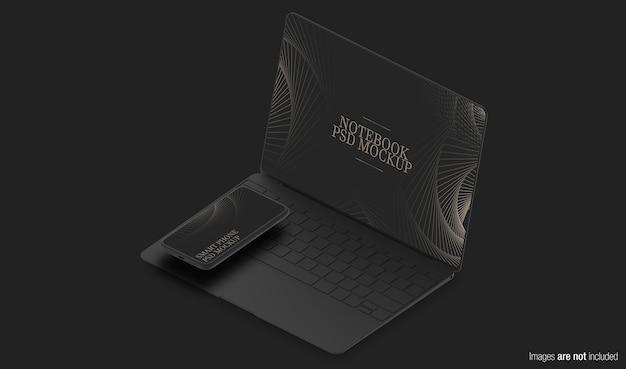 ダークコンセプトノートブックと電話のモックアップ Premium Psd