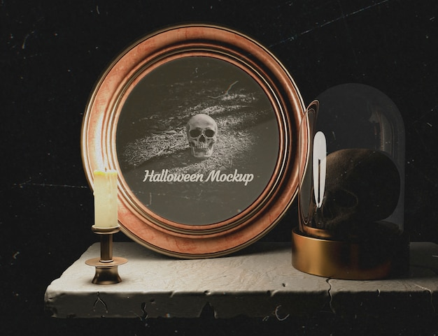 Dark decor with halloween round frame and skull Free Psd