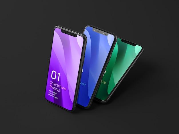 Dark mobile device mockup Бесплатные Psd