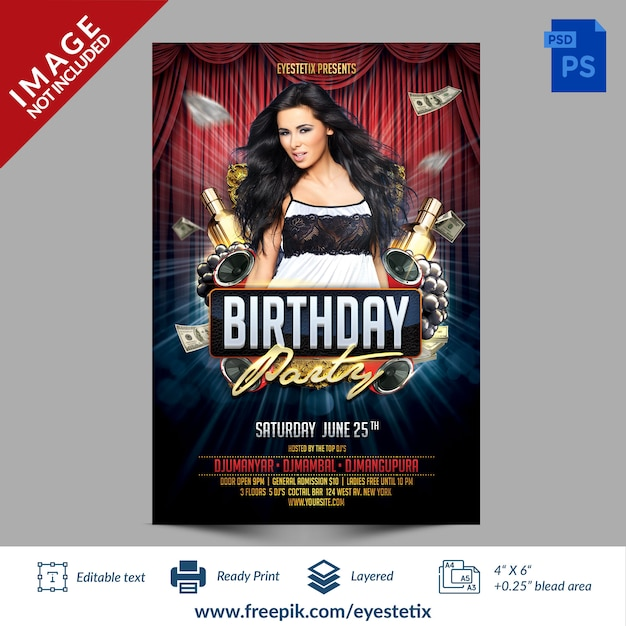 Dark red & blue birthday party photoshop flyer template Premium Psd