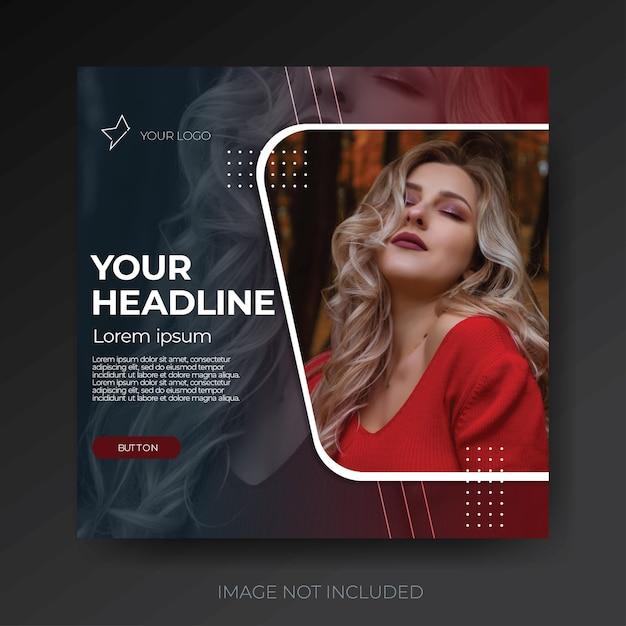 Dark red modern fashion social media template Premium Psd