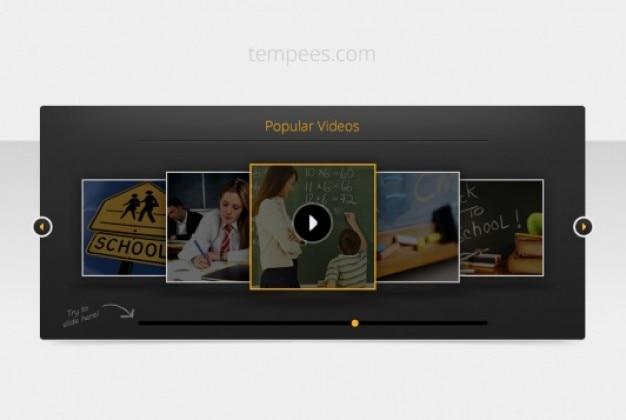 dark template video slider free psd