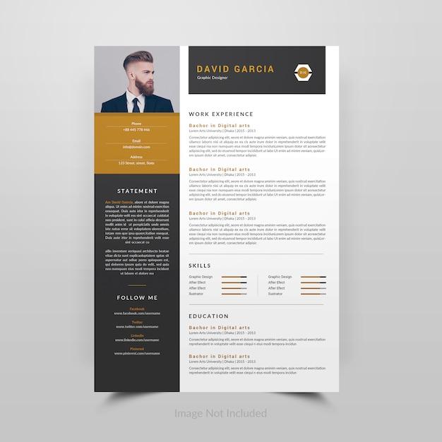 David garcia-resume template Premium Psd