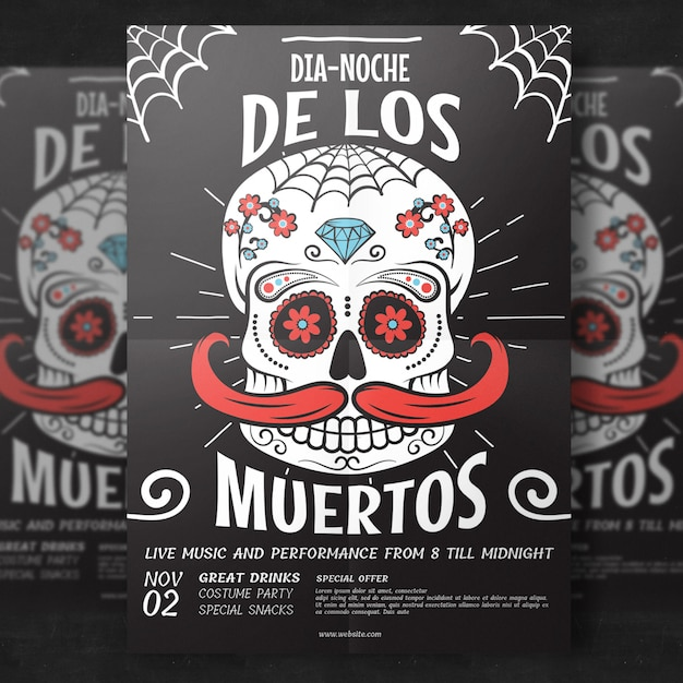 Day of the dead flyer template Premium Psd