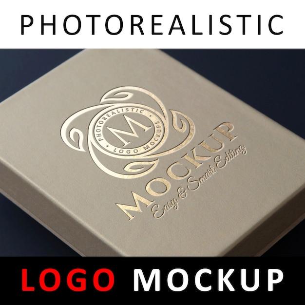ロゴモックアップ - クラフトボックスにロゴを押すdebossed金箔 Premium Psd