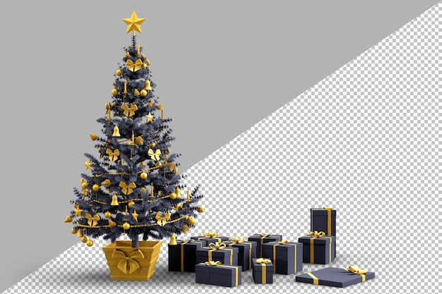Decorated christmas tree with gift boxes Premium Psd