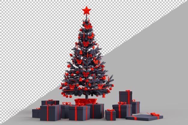 Украшенная елка с подарочными коробками Premium Psd
