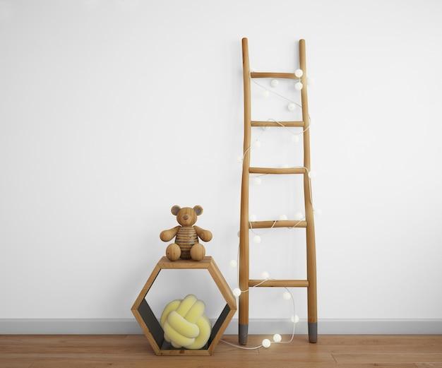 Элементы декора с лестницей, рамой и игрушками Бесплатные Psd