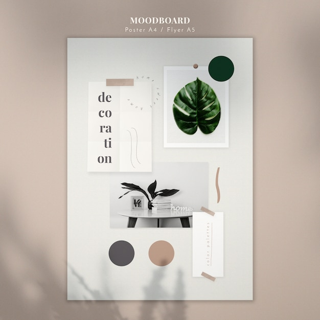 Decoration mood board poster template Free Psd