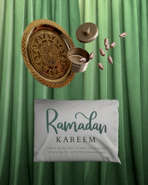 Decoration with falling dried dates and ramadan pillow Free Psd