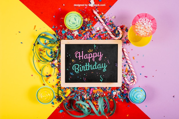 Decorative Birthday Mockup With Slate Psd File Free Download