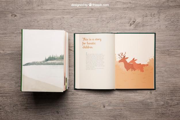Decorative book mockup Free Psd