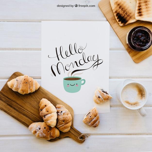 Декоративный макет завтрака Бесплатные Psd