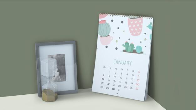 Decorative calendar mockup in corner Free Psd
